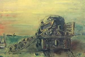 Разгрузка труб - работа неизвестного художника времен СССР