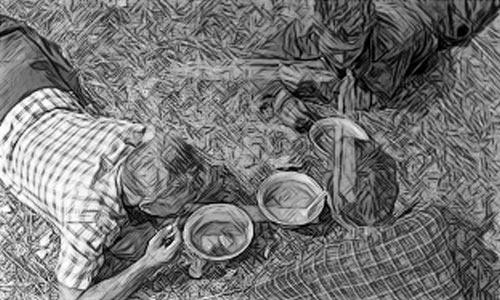 Механизаторы обедают в поле