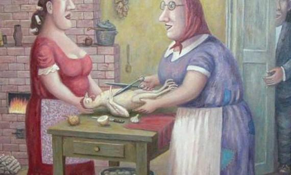 """Владимир Любаров. """"Свекровь учит невестку готовить курицу"""". 2008."""