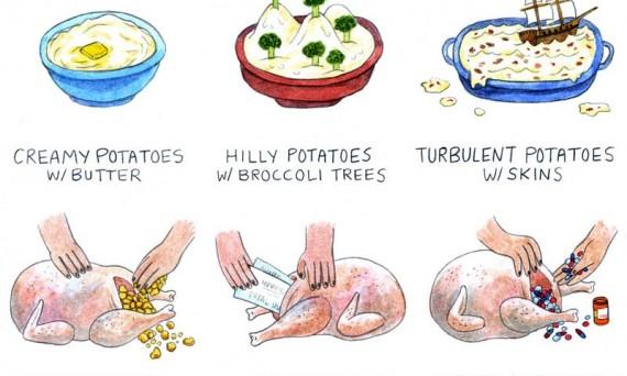 """Рисунки в стиле Op Art """"Visions of Thanksgiving"""" художницы Lisa Hanawalt (США, Нью-Йорк. 2011 год."""